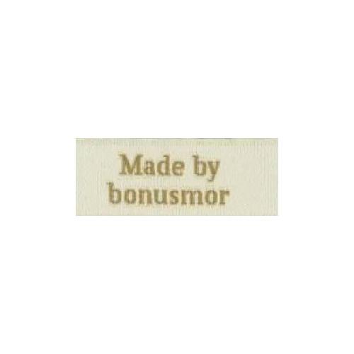 "Label ""made by bonusmor"" 5 x 2 cm i beige"