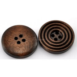 Mørke træknapper med ringe. Pose med 10 knapper, 20mm