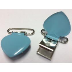 Hjerte seleclips i metal, lyseblå pastelfarve - 1 stk